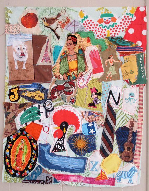 myBonny fabric collage folk art quilt