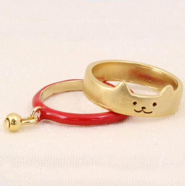 2 stücke Neue Mode Vergoldet Cut Cat Ringe Mit Anhänger Schöne Boho Metall Tier Party Fingerringe für Frauen Aneis Schmuck