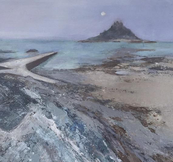 St Michaels Mount by Moonlight-Original Acrylic | Etsy