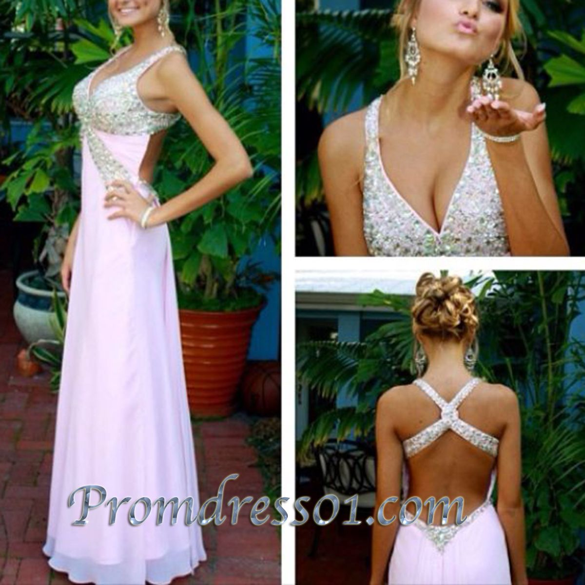 sparkly pink cross back long prom dress for teens ball gown