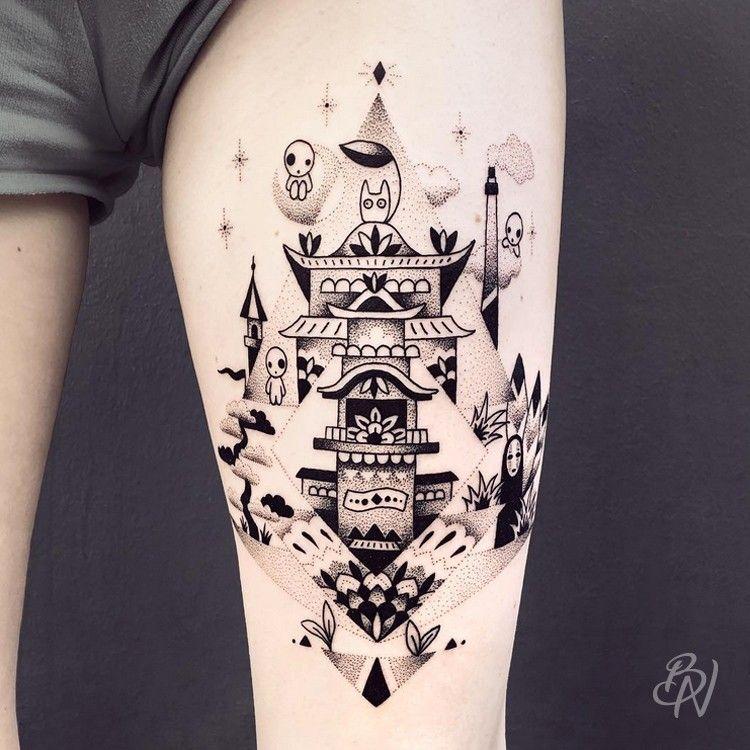 bleu noir tattoo | les abbesses paris 18e | studio ghibli | tattoos