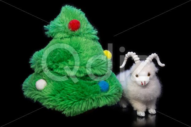 Qdiz Stock Photos | Goat or sheep with fir tree,  #2015 #asia #background #black #celebrate #celebration #character #china #chinese #closeup #concept #culture #decoration #doll #east #ewe #festival #festive #figure #fir #fun #funny #greeting #holiday #japanese #jumbuck #lamb #little #mutton #new #religion #sheep #small #symbol #toy #tradition #traditional #tree #white #year #zodiac