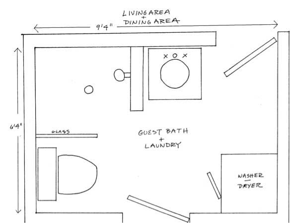 Two Bathroom Laundry Ideas Within The Footprint Of A Small Home Small Bathroom Floor Plans Laundry Bathroom Combo Bathroom Floor Plans