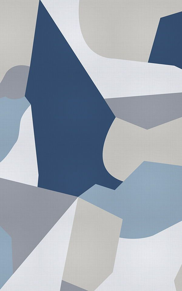 Blue and Gray Camo Shapes Wallpaper Mural