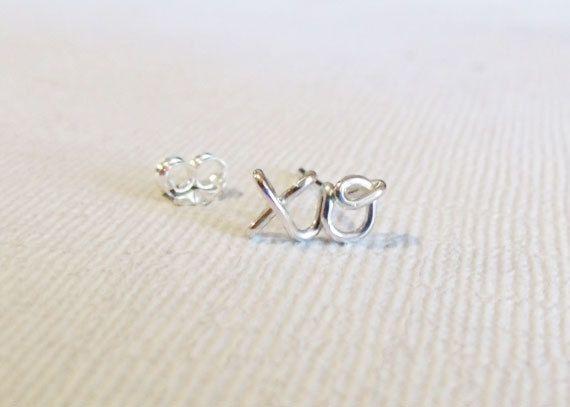 "Cartilage Earring, xo ""hug & kiss"" Earring, Sterling Silver or Gold Filled. $18.00, via Etsy."