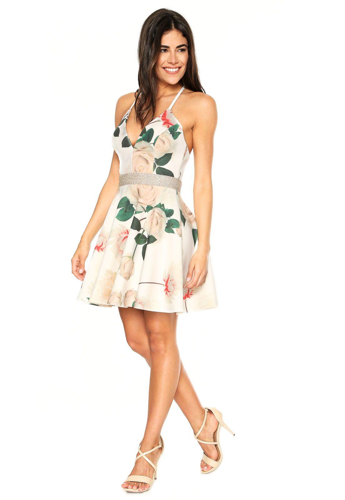 68584c191 Vestido Lança Perfume Curto Lady Like Bege