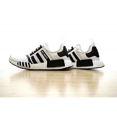 591ca4ca3c217 Discount Mens OFF WHITE X Adidas NMD R1 PK BOOS White Black BY3508 Sneakers