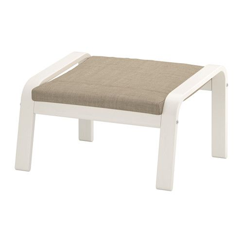 IKEA - POÄNG, Ottoman, Isunda beige, white, , The cover is easy to keep clean as it is removable.Layer-glued bent birch frame gives comfortable resilience.You can use the ottoman together with POÄNG armchair to sit in an even more comfortable and relaxed position.10-year limited warrranty. Read about the terms in the limited warranty brochure.