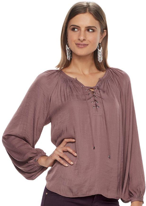 b33d18b5aa4e42 JLO by Jennifer Lopez Women s Lace-Up Peasant Blouse