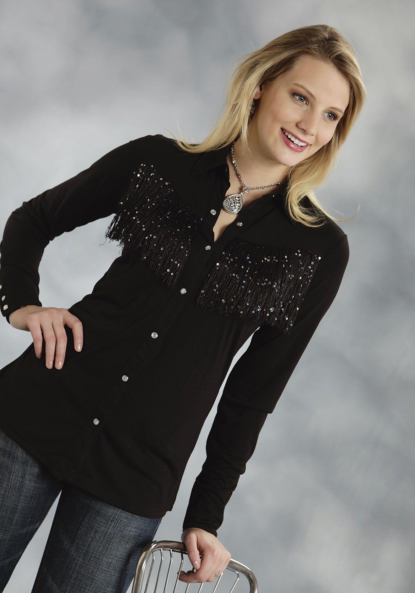 a6472067762 Roper® Women s Black Sequin Fringe Western Show Shirt