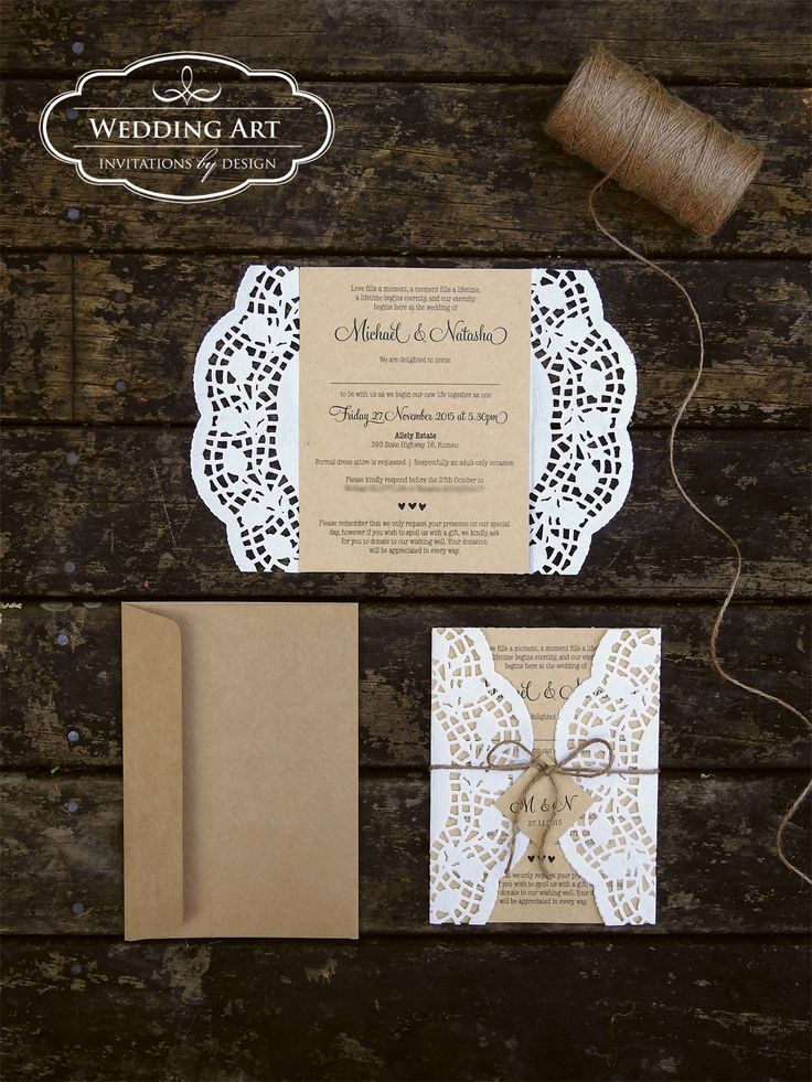 gorgeous rustic wedding invitations printed on kraft card finished off with rose paper doilies twine - Wedding Invitation Printing