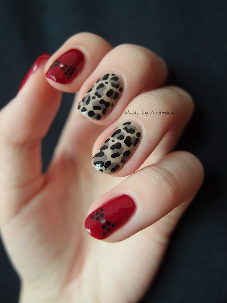 Leopard red bow nails | debshops | claws ♡ | Pinterest | Leopards ...