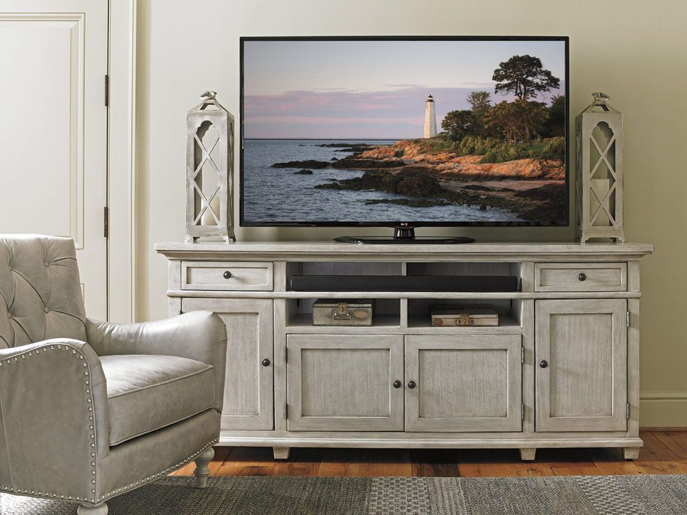Lexington Oyster Bay Kings Point Large Media Console in Light Oyster Shell #Lexington #TransitionalCasual #MediaChest