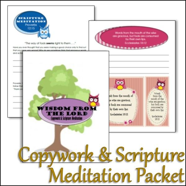 This {FREE} packet uses copywork, meditation, and printables to help pre- and early-teenagers learn about godly wisdom!