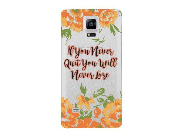 """""""If You Never Quit You Will Never Lose"""" Inspirational Clear Phone Cover"""