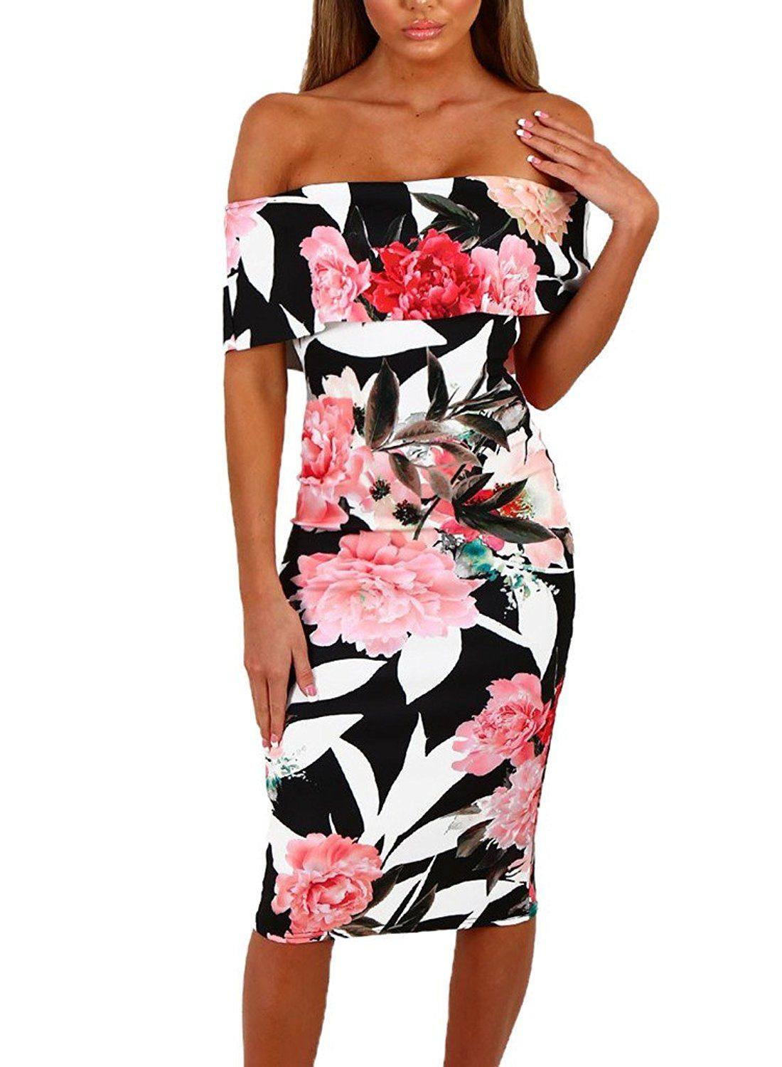 d1b25e218889 Sidefeel Women Floral Print Off Shoulder Bodycon Midi Dress  Amazon   Fashion  Style  Outfits  Women