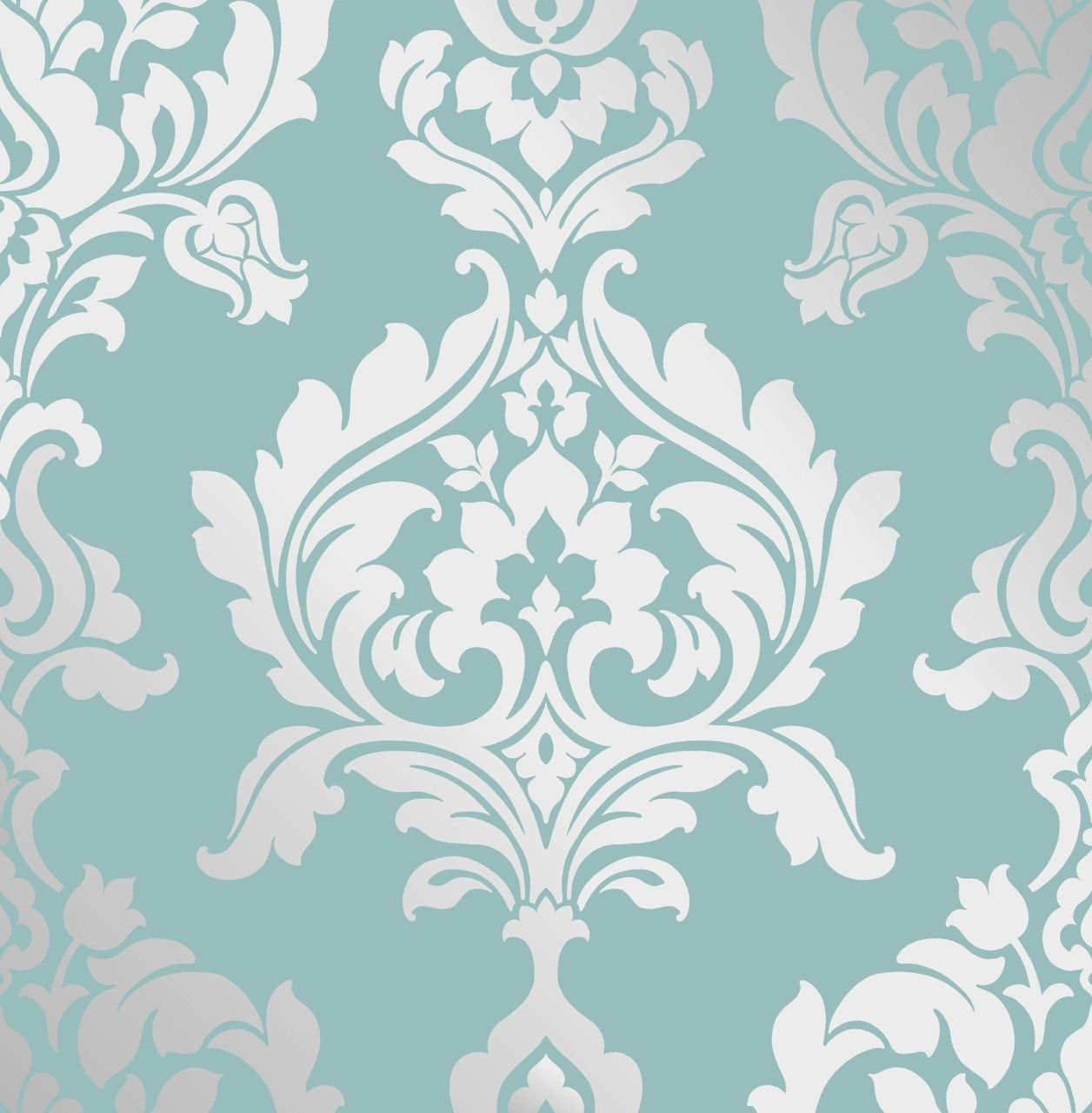 Decorline Foils Soft Teal Modern Traditional Paste the Wall Duck Egg Foil  Silver Damask Wallpaper by Fine Decor Details and purchase options from  Lancashire ...