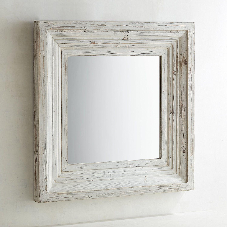 Bailey Farmhouse Natural Whitewash 31 Square Mirror Rustic Mirrors Rustic Interiors Decor