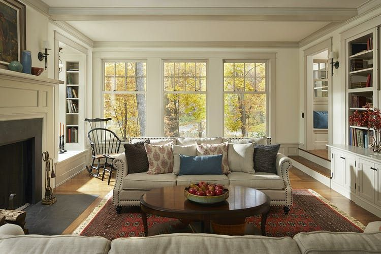 A 1960s House In Deephaven Is Reborn As A New England Style Colonial Colonial House Interior 1960s House Colonial House Interior Design Living room new england design