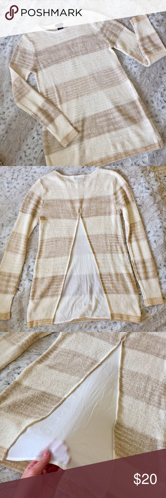 Gorgeous Calvin Klein Tunic Sweater Only worn once! Like new. Comfy long sweater with cool sheer back. Very stylish and classic! Great colors. Jeans and boots are a great combo! Calvin Klein Sweaters