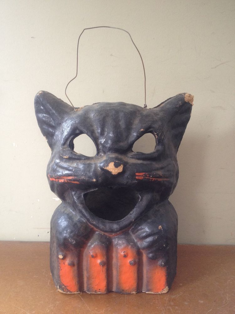 HALLOWEEN PAPER MACHE BLACK CAT CANDY CONTAINER LAMP DECORATION Vtg Cardboard