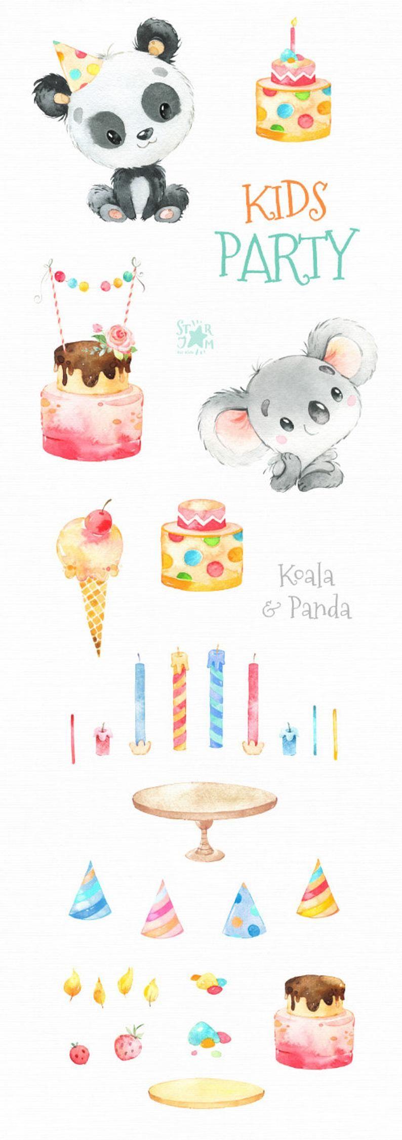 Photo of Festa per bambini. Koala & Panda acquerello piccolo animale Clipart di compleanno, torte, torta, divertimento, bambino, compleanno gelato, playdate, carte baby-doccia