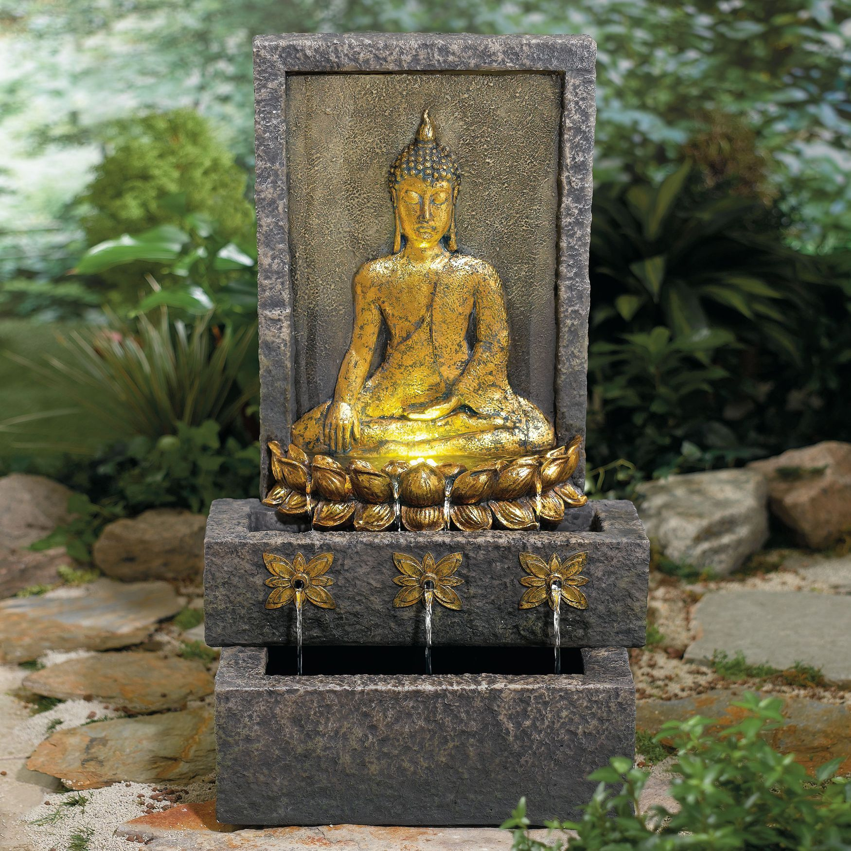 Large Buddha Head Fountain: Buddha Fountain With LED Lights