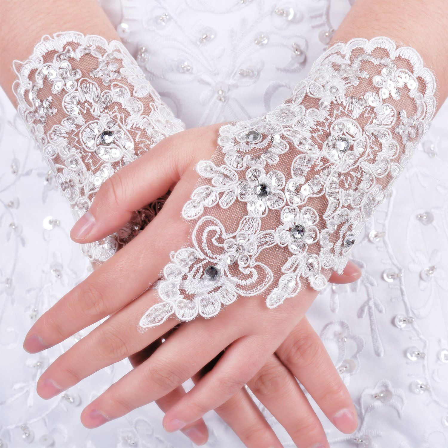Dresstells® Exquisite Fingerless Rhinestone Bridal Gloves Lovey Prom Gloves