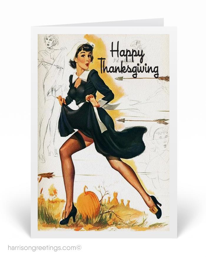 1950s Vintage Pinup Thanksgiving Cards, retro modern Thanksgiving ...