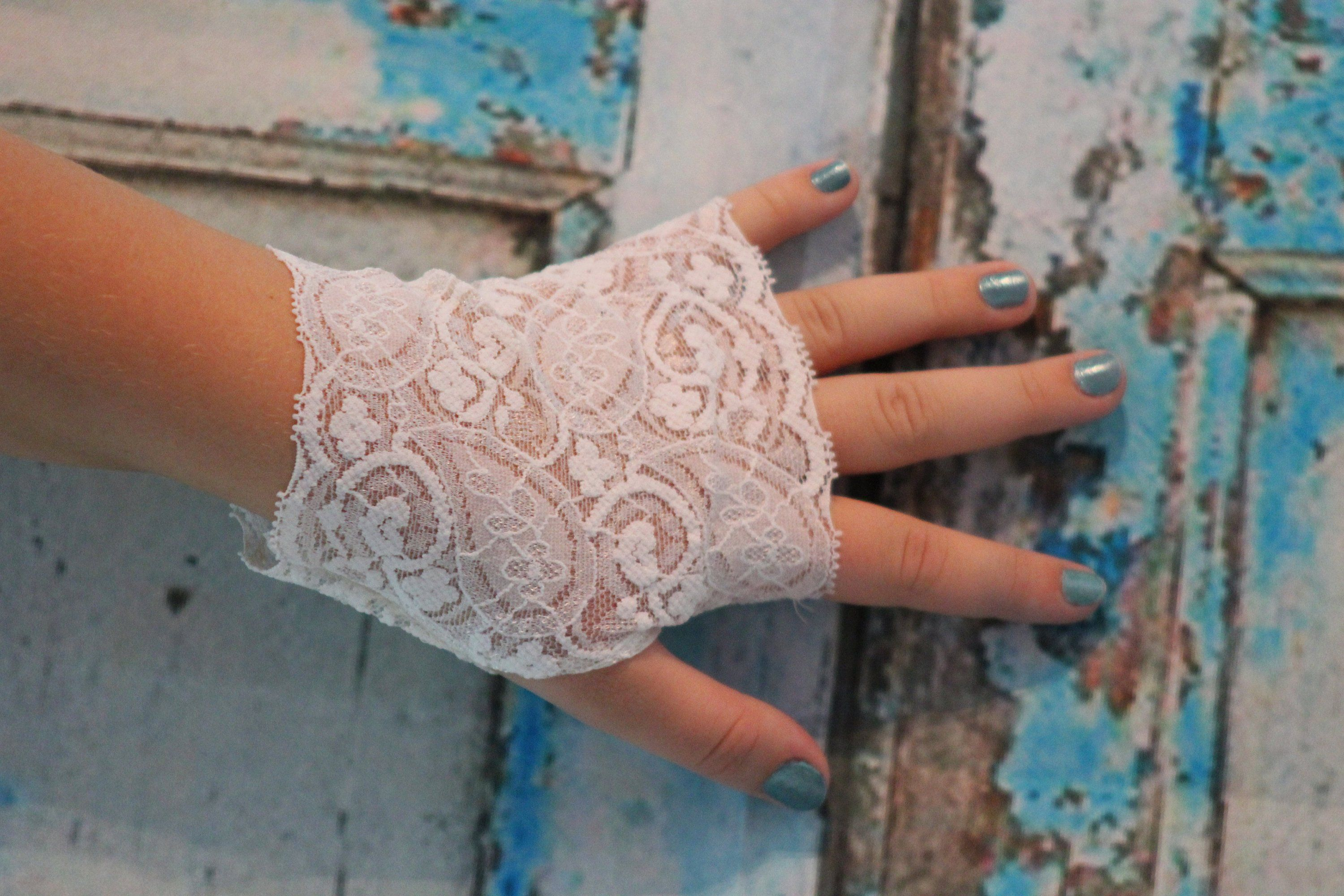 Lace Gloves. Beige Nude Stretched Wedding Evening Party