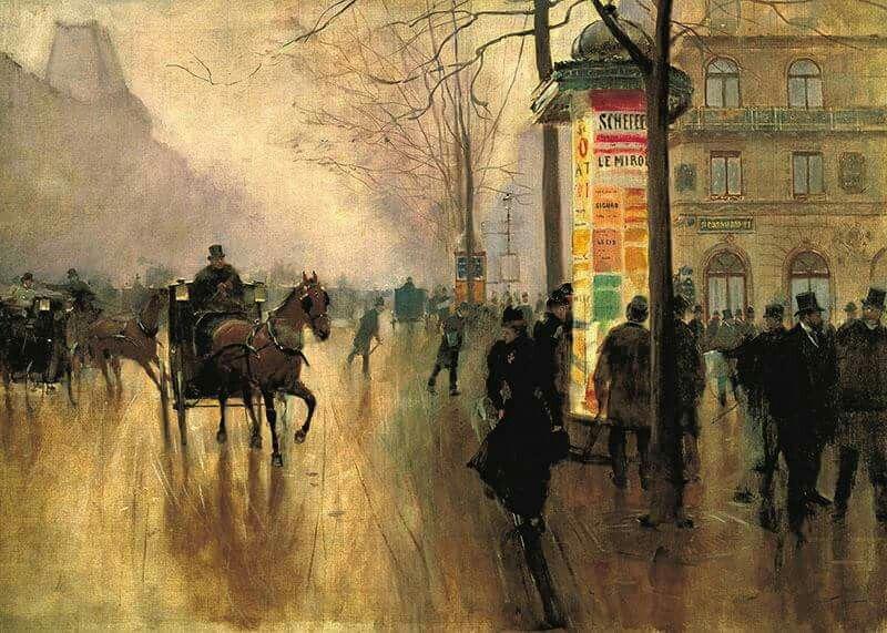 Jean Béraud (1849-1936) - Voitures sur le Boulevard des Italiens