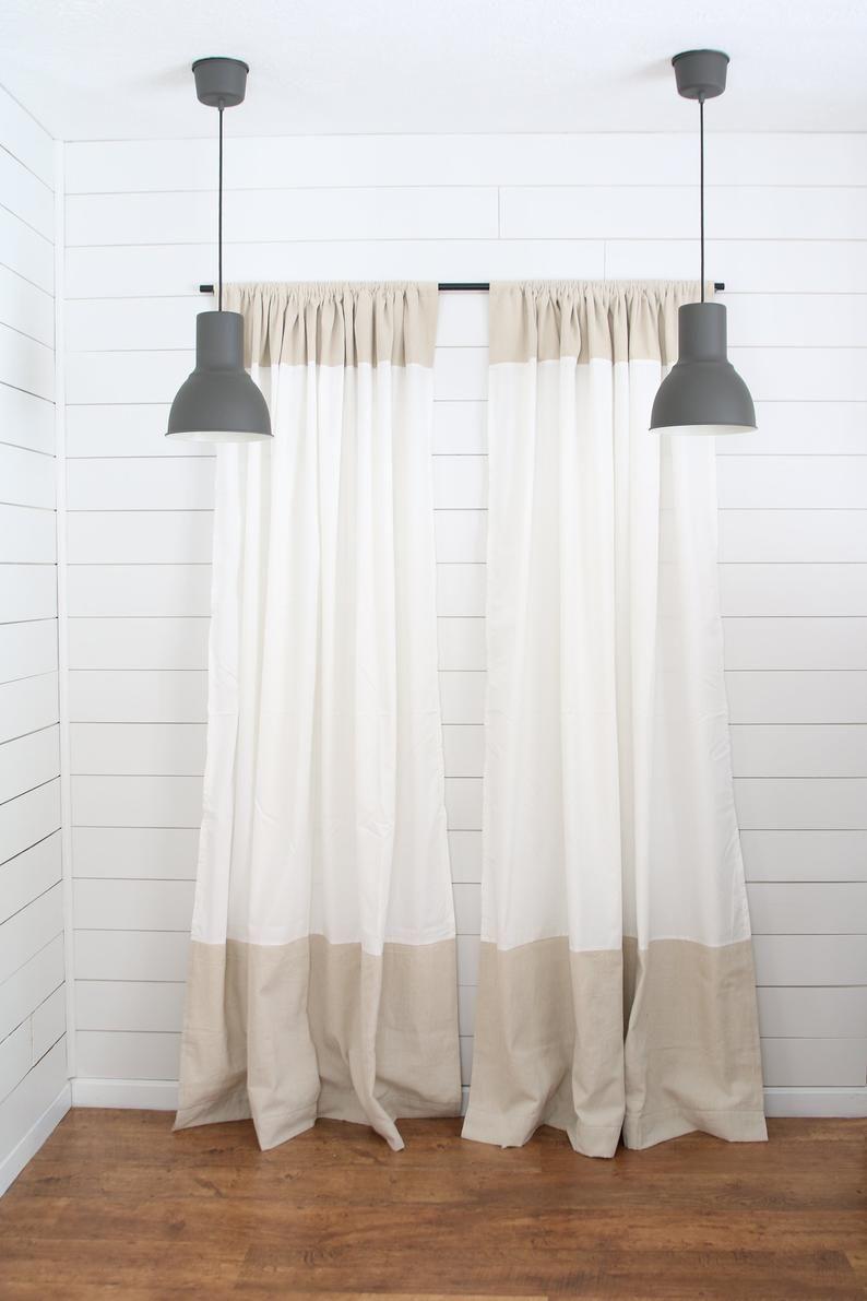 Farmhouse Curtainwhite Curtaindrop Cloth Curtain Paneltwo Etsy