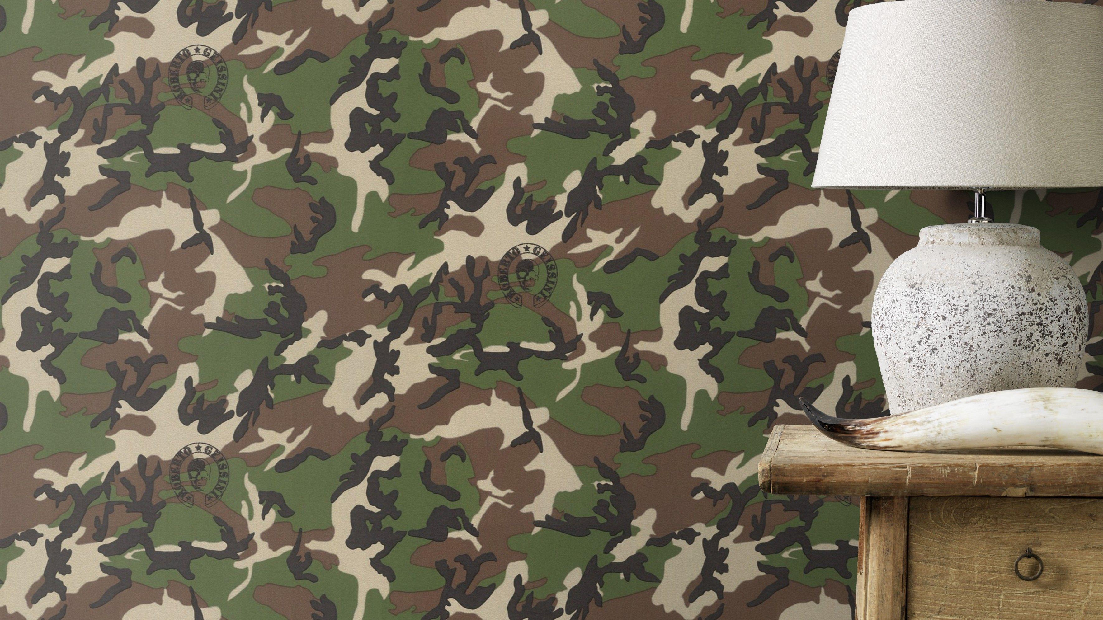 Camouflage Tapete Robert Geissen Tarnlook Military Look Kaki Tapete