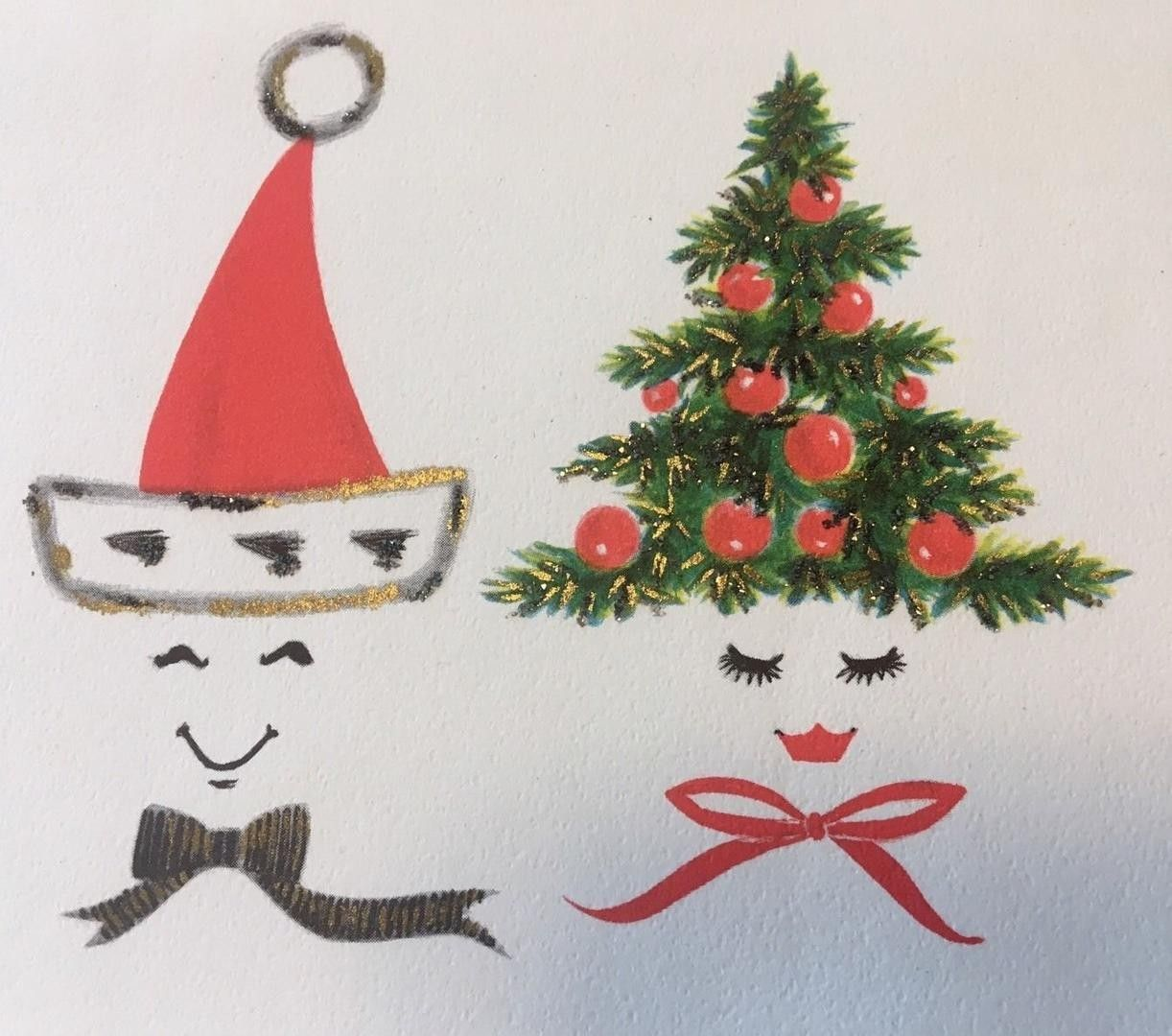 5306091ce1729 Vintage Christmas Card Anthro Family 2 Of Us Tree Ornament Santa Hat  Mistletoe