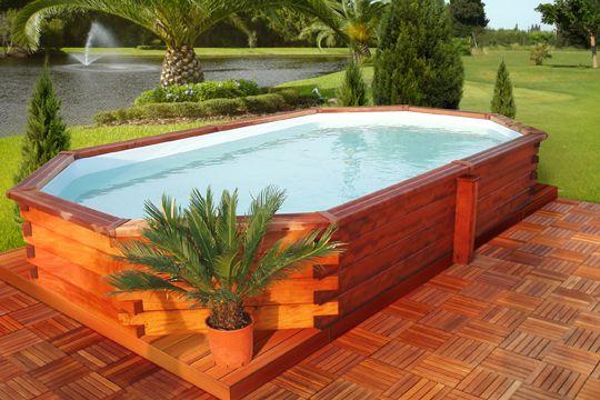 On craque pour ce bassin de nage hors sol en bois exotique ...