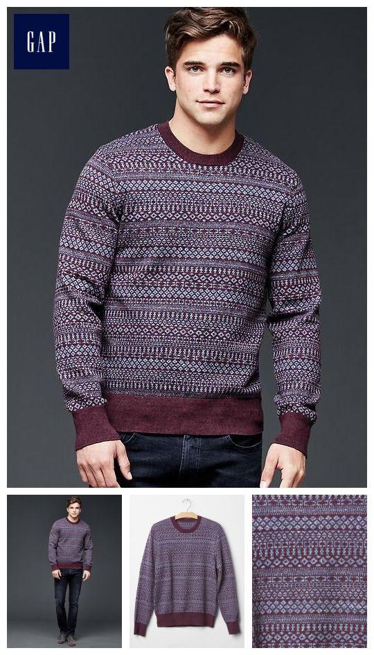 Marled fair isle crew sweater | bro | Pinterest