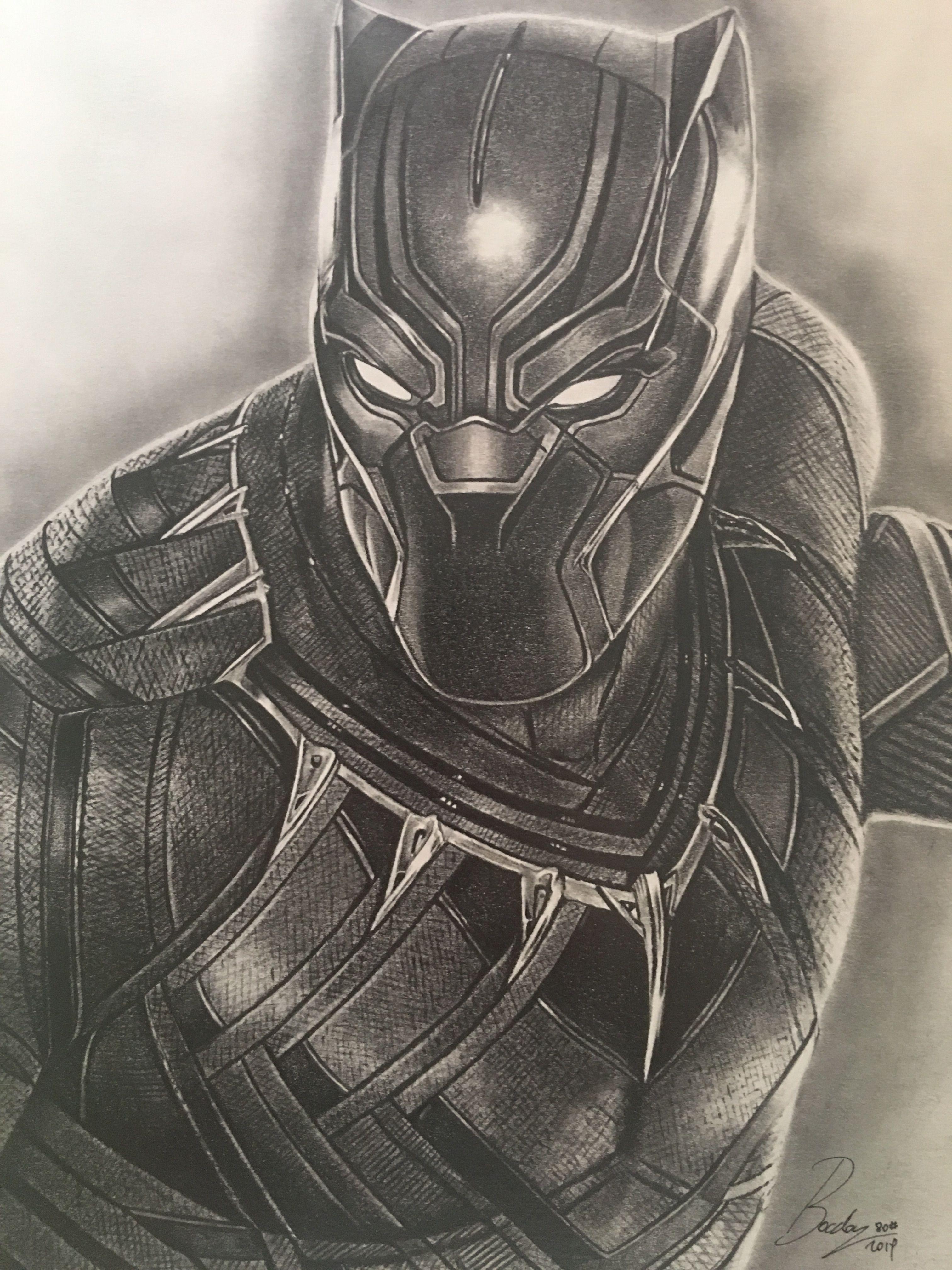 Black Phanter Graphite Pencil Portrait Marvel Art Drawings Black Panther Drawing Marvel Drawings