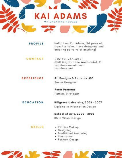 illustrated leaves pattern colorful resume resume pinterest