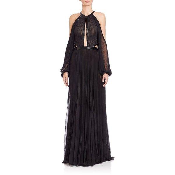 J Mendel Pleated Silk Halter Gown ($2