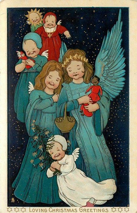 1907 Christmas angels postcard