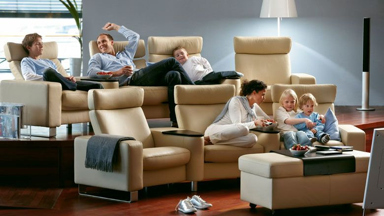 Stressless Home Theater Space Large Highback W Sector Arms