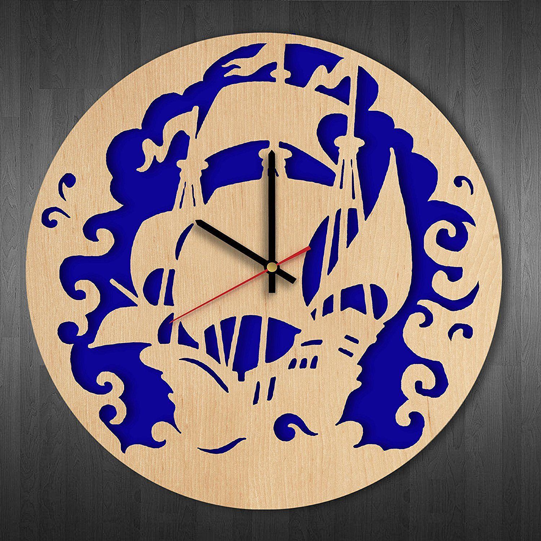 Pirate ship design wood wall clock - Modern wood wall clock - Gift ...