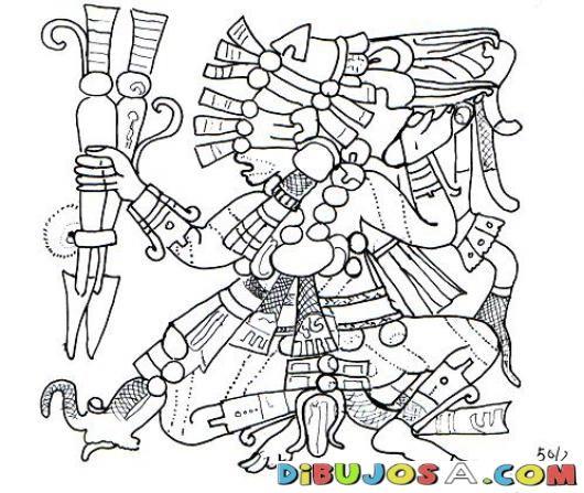 Dibujo Maya Con Lanzas Para Colorear | COLOREAR MAYAS | Dibujo Maya ...