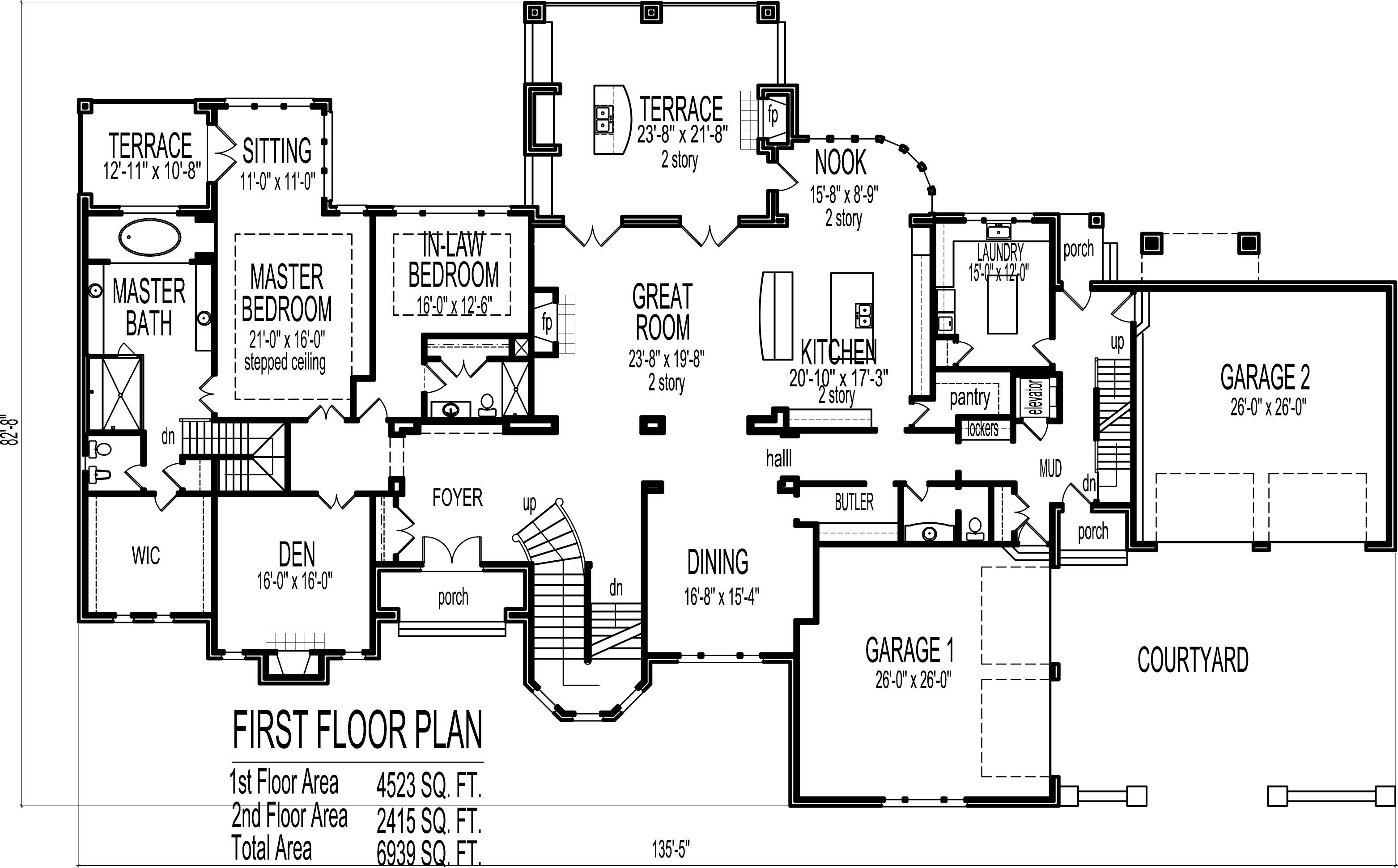 6 bedroom 7 bathroom dream home plans indianapolis ft for 6 bedroom floor plans two story