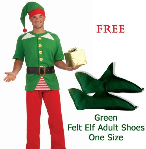 """Jolly Elf Adult Holiday Costume with FREE """"One Size Green Felt Elf Shoes"""""""
