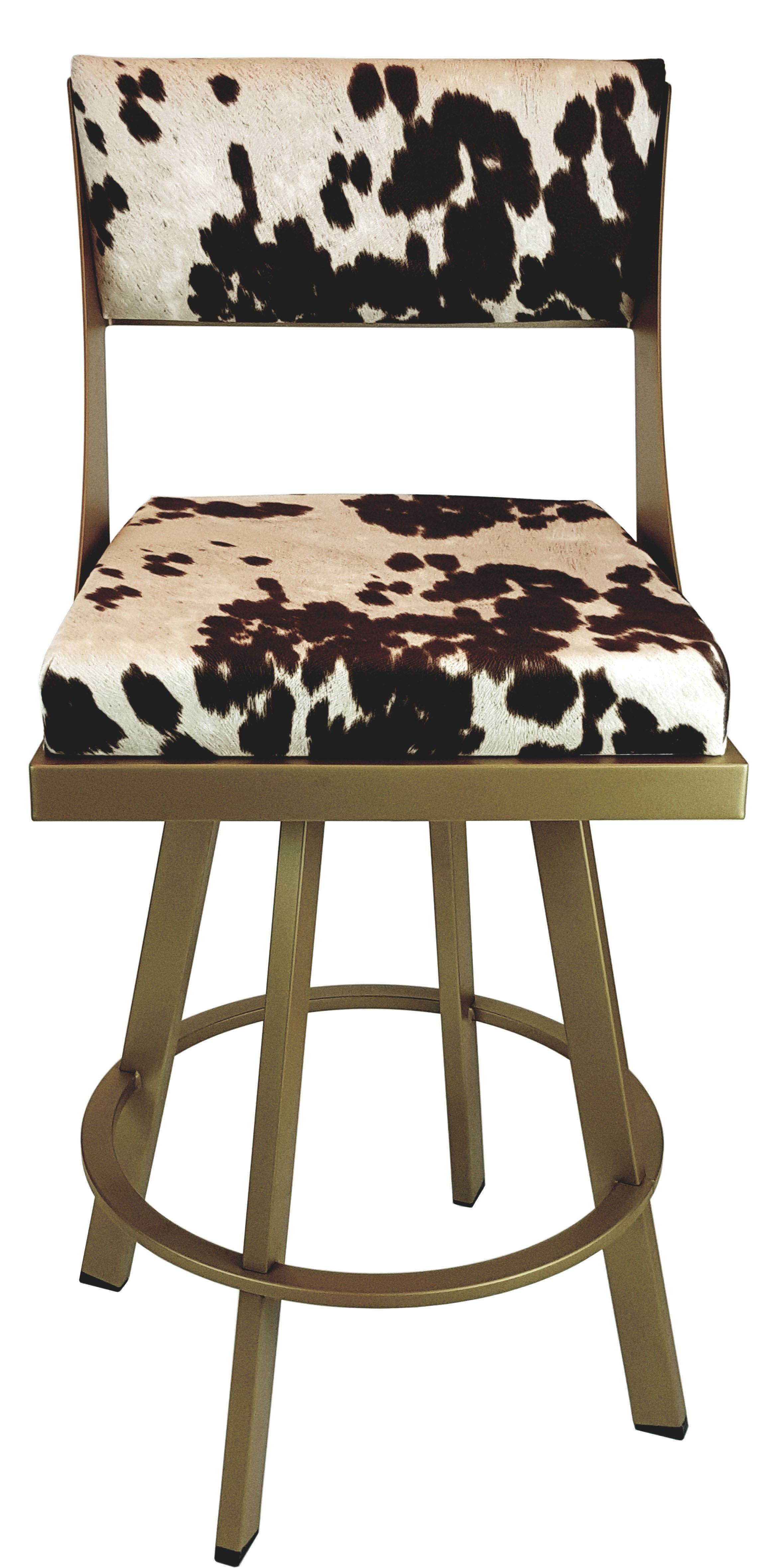 Custom Made In Canada Swivel Counter Stool In Gold Metal Frame