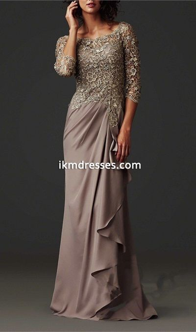 2016 mother of the bride dresses a line 3 4 sleeves grown for Long dress for wedding mother of the bride