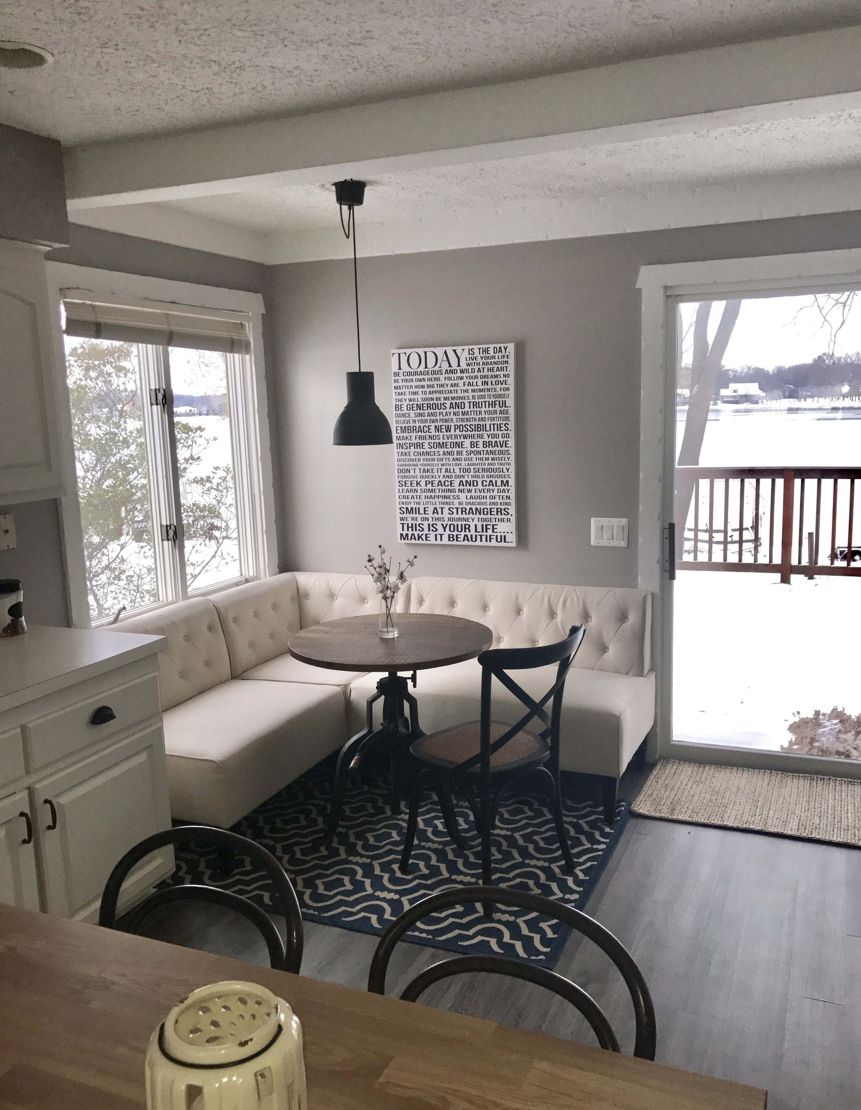 Cozy Breakfast Nook Paint Color Behr Park Ave Pendant Light Ikea Iron Crank Table Home Depot Upholstered Banquette Bench