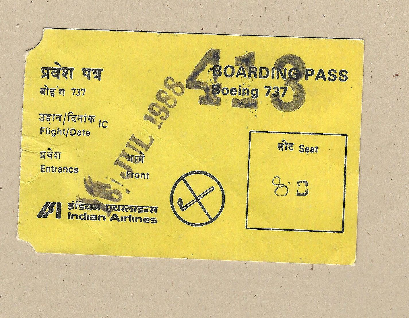 Indian Airlines Boarding Pass Vintage Airline Baggage Tags