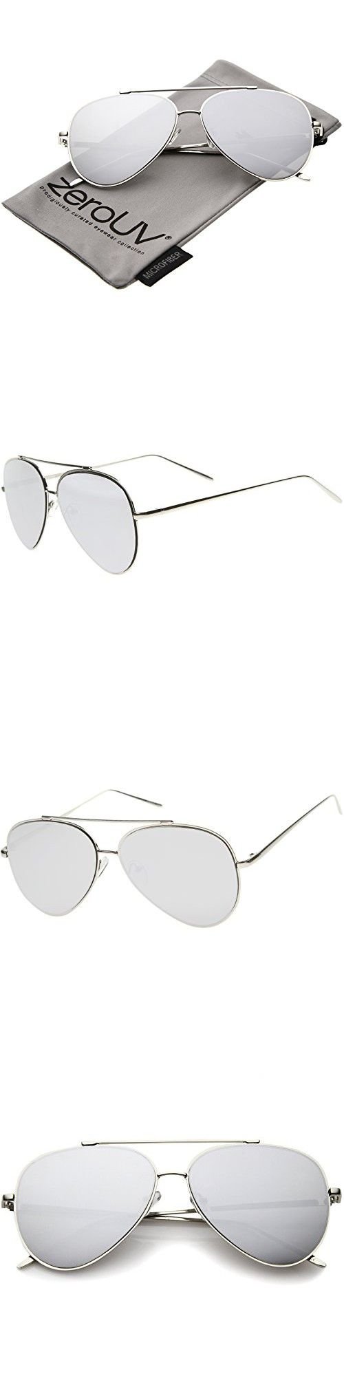 846087ea5f ZeroUV - Mod Fashion Teardrop Rimless Mirror Flat Lens Metal Frame Aviator  Sunglasses 58mm (Silver   Silver Mirror) in 2018
